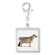 Brown Swiss Dairy Cow Silver Square Charm