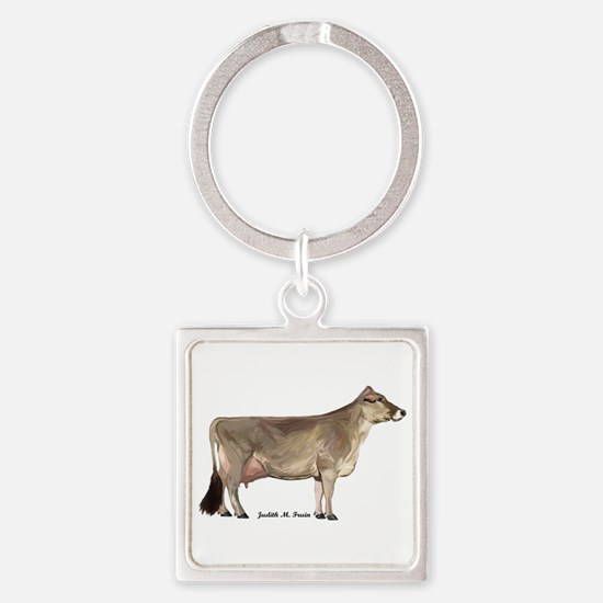 Brown Swiss Dairy Cow Square Keychain