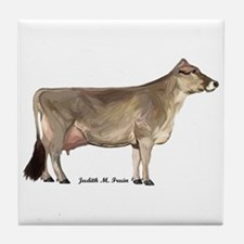 Brown Swiss Dairy Cow Tile Coaster