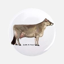 """Brown Swiss Dairy Cow 3.5"""" Button"""