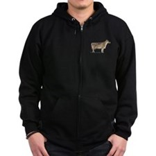 Brown Swiss Dairy Cow Zip Hoodie (Dark)