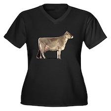 Brown Swiss Dairy Cow Women's Plus Size V-Neck Dar