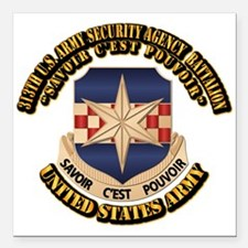 "313th USA SAB w Text Square Car Magnet 3"" x 3"""