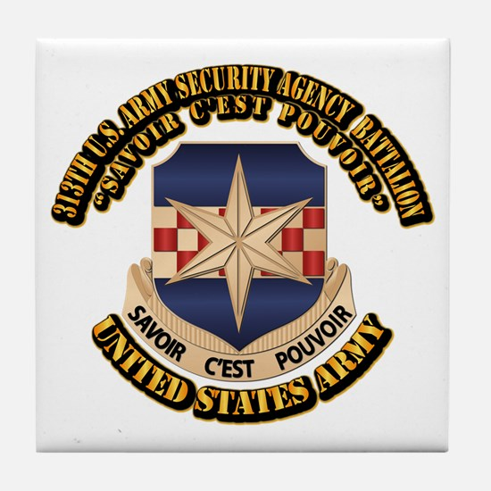 313th USA SAB w Text Tile Coaster