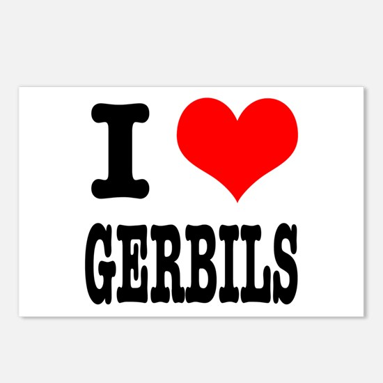 I Heart (Love) Gerbils Postcards (Package of 8)