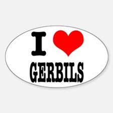 I Heart (Love) Gerbils Oval Decal