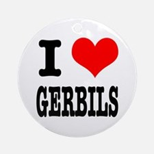 I Heart (Love) Gerbils Ornament (Round)