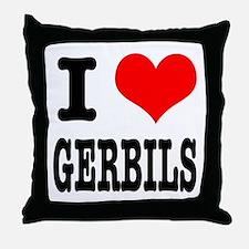 I Heart (Love) Gerbils Throw Pillow