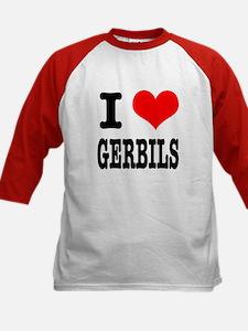 I Heart (Love) Gerbils Kids Baseball Jersey