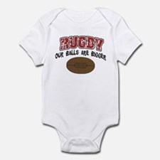 Rugby Our Balls Are Bigger Infant Bodysuit