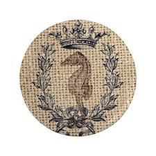 "vintage french botanical seahorse pari 3.5"" Button"