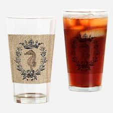 vintage french botanical seahorse p Drinking Glass