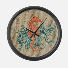 vintage french botanical seahorse Large Wall Clock