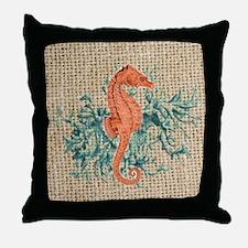 vintage french botanical seahorse dec Throw Pillow