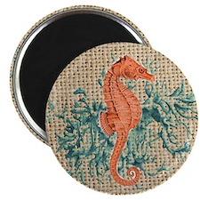 vintage french botanical seahorse decoratio Magnet