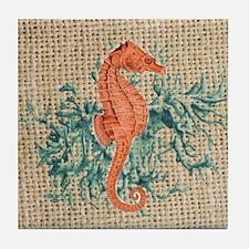 vintage french botanical seahorse dec Tile Coaster