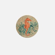 vintage french botanical seahorse deco Mini Button
