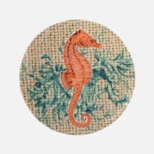 "vintage french botanical seahorse deco 3.5"" Button"