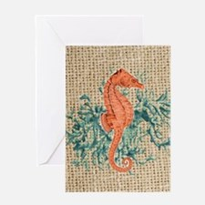 vintage french botanical seahorse de Greeting Card
