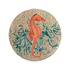 "vintage french botanical seahorse deco 3.5"" Button"
