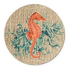 vintage french botanical seahorse Round Car Magnet