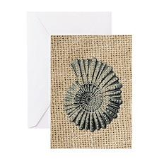 romantic seashell burlap beach art Greeting Card