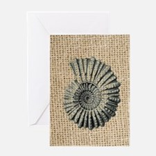 romantic seashell burlap beach art Greeting Card