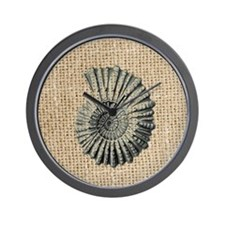 romantic seashell burlap beach art Wall Clock