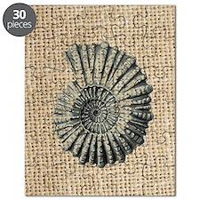 romantic seashell burlap beach art Puzzle