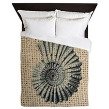 romantic seashell burlap beach art Queen Duvet