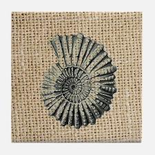 romantic seashell burlap beach art Tile Coaster
