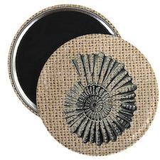 romantic seashell burlap beach art Magnet
