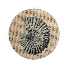 "romantic seashell burlap beach art 3.5"" Button"