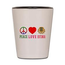 Peace Love Estonia Shot Glass