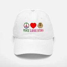 Peace Love Estonia Baseball Baseball Cap