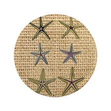 "starfish  seashell burlap beach art 3.5"" Button"