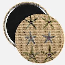 starfish  seashell burlap beach art Magnet