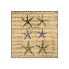"starfish  seashell burlap b Square Sticker 3"" x 3"""