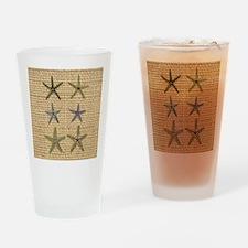 starfish  seashell burlap beach art Drinking Glass