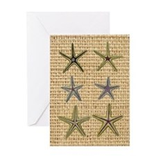 starfish  seashell burlap beach art Greeting Card
