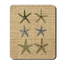 starfish  seashell burlap beach art Mousepad