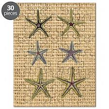 starfish  seashell burlap beach art Puzzle