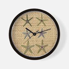 starfish  seashell burlap beach art Wall Clock