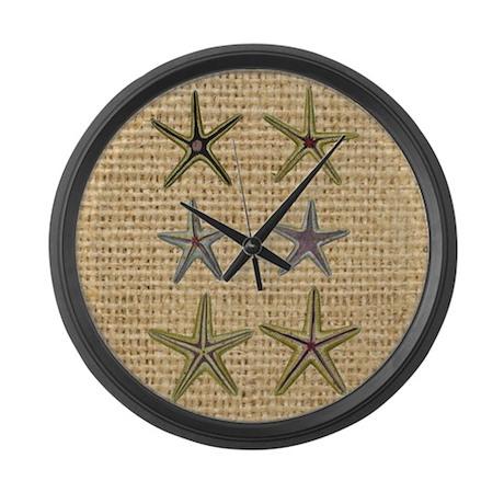 Starfish seashell burlap beach a large wall clock by for Seashell clock