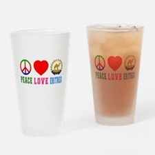 Peace Love Eritrea Drinking Glass