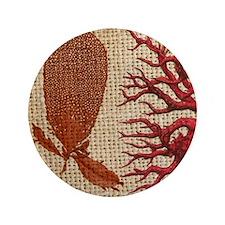 "red coral burlap beach decor 3.5"" Button"