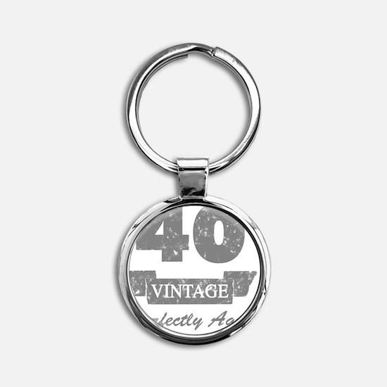 40th Birthday Vintage Round Keychain