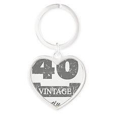 40th Birthday Vintage Heart Keychain