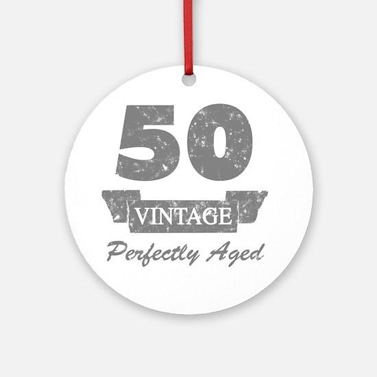 50th Birthday Vintage Round Ornament