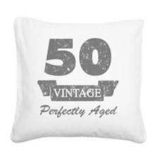 50th Birthday Vintage Square Canvas Pillow